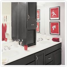 The cabinet on the counter black bathroom cabinets Teen Boy Bathroom, Teen Bathrooms, Upstairs Bathrooms, Bathroom Fixtures, Bathroom Wall, Master Bathroom, Black Cabinets Bathroom, Bathroom Black, Colorful Bathroom