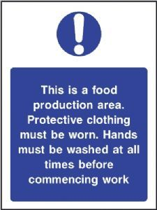 This is a Food Production Area - Protective clothing must be worn safety sign mnmnmnm Cleaning Cars, Spice Company, Culinary Classes, Safety Posters, Banting, Food Safety, Health And Safety, Workplace, A Food