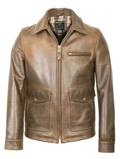 Waxy Natural Cowhide Delivery Jacket (Brown) 563 - Scott Bros.