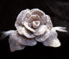 Hand felted wool Rose brooch by ChicComplement on Etsy, $25.00