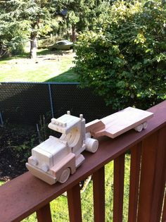 Wooden Toy - Semi Truck With Trailer