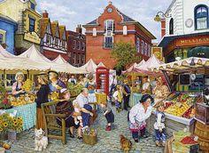 The Farmer's Market 1000 piece jigsaw puzzle by Susan Brabeau Canada… Norman Rockwell, Puzzle Art, Puzzle 1000, Puzzle Toys, Naive Art, Retro, Farmers Market, 1000 Piece Jigsaw Puzzles, Folk Art