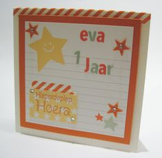 Stampin' Up!, Project Life, Birthday, First year, Baby, Stars, Tangerine Tango, Very Vanilla, Washi tape