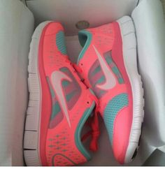 Coral and blue nikes.