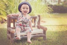 Image of Rustic, Newborn or Toddler Log Prop Bench - Spindle Wood Backing and Seat