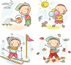 Buy Four Seasons by katya_dav on GraphicRiver. Little boy's activities during the four seasons Art Drawings For Kids, Drawing For Kids, Art For Kids, Drawing Drawing, Clipart, Family Drawing, Outdoor Activities For Kids, Sports Activities, Free Illustrations