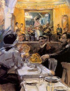 Isaac Israëls - Café chantant met dansgroep La Feria, Parijs