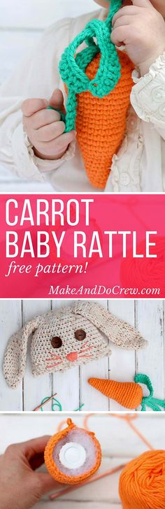 Free amigurumi carrot toy rattle pattern! This free crochet baby toy pattern makes a perfect DIY baby shower gift or Easter basket surprise, especially when paired with our free crochet bunny hat. |MakeAndDoCrew.com