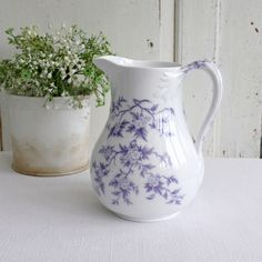 Rare French antique lavender transferware jug or pitcher. Made by the famous French company Sarreguemines circa 1860 -