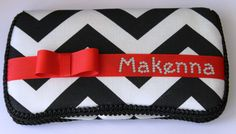 Black & White Chevron with Red Bow Baby Wipes by TheSparkleBaby, $18.95