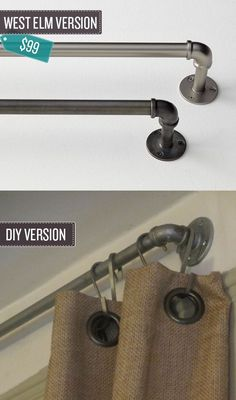 """Build some industrial pipe curtain rods.   24 West Elm Hacks. """"The West Elm rods are meant to look like industrial piping, so why not cut out the middle man and make your own out of pipes themselves?"""""""