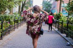 NWT  ZARA Floral Velvet Kimono Fringed Blazer Devore Kaftan Jacket  One Size M #ZARA #Poncho