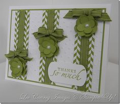 handmade card ... white and green ... three layered bands with chevrons, ribbon, layered flowers and perfect little bows ... like the graduated height of flower placement leaving room for the sentiment ... Stampin' Up!