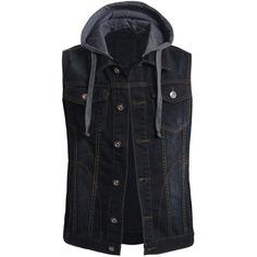 OLLIN1 Mens Casual Denim Vest Jacket with Hoodie ($46) ❤ liked on Polyvore featuring men's fashion, men's clothing, men's outerwear and men's jackets