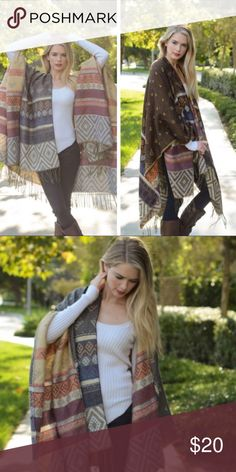🆕 Boho Poncho Cardigan Beautiful boho poncho with fringe detailing. Lightweight, purchased from an online boutique.  • NEW • Fast response  • Not from listed brand  • This item may/may not include a tag Sweaters Cardigans