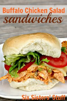 Buffalo Chicken Salad Sandwiches from SixSistersStuff.com.  A delicious dinner you can throw together in a matter of minutes!