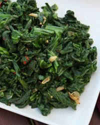 Calabrese Mustard Greens - Just a little red wine vinegar transforms this otherwise familiar bowl of garlicky greens