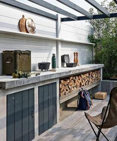 une cuisine d'extérieur en béton de style minimaliste