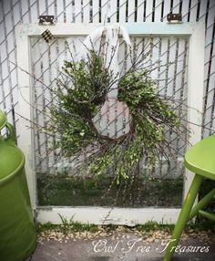 Owl Tree Treasures...Old window with twiggy wreath