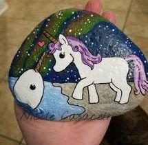 cute, unicorn, easy, paint, rock