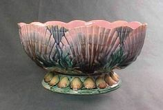 Antique Etruscan Majolica Shell and Seaweed Footed Bowl