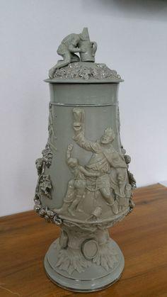Mettlach Villeroy & Boch Antike Vase Figur Porzellan um 1880 Zwerg Dwarf Beer