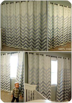 Make your own ombre painted chevron curtains with this Tutorial!