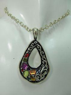 """Multicolor Rhinestone Silver Fashion Necklace, 16-19"""""""
