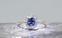 1.11 Carat GIA Ceylon Sapphire Ring with Diamond Halo - CHINCHAR•MALONEY