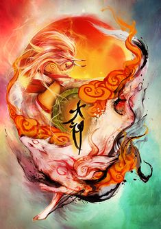 Okami Illustration by Muju Tamamo No Mae, Japanese Tattoo Art, Amaterasu, Video Game Art, Video Games, Wolf, Anime Sketch, Fantasy Art, Cool Art