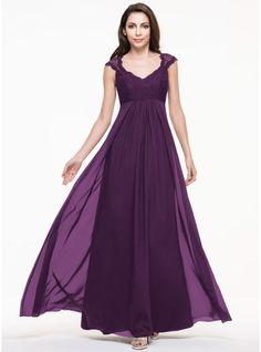 06ab81ef3e56d A-Line/Princess V-neck Floor-Length Chiffon Lace Bridesmaid Dress Siyah