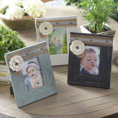 The Distressed Sadie Picture Frames come in black, white and aqua. The distressed finish and burlap accessories give these a heartfelt and homemade feel.