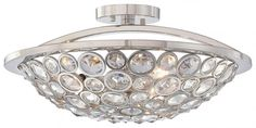 MINKA METROPOLITAN N6750-613 - MAGIQUE 3 LIGHT SEMI FLUSH MOUNT, POLISHED NICKEL