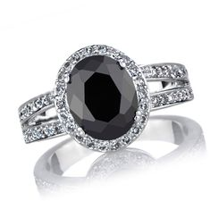 Get bold beauty with Carly's Simulated Black Diamond Engagement Ring - 3 Carat Oval CZ. Features a sterling silver, rhodium plated design. Gothic Engagement Ring, Heart Engagement Rings, Black Diamond Engagement, Pear Shaped Engagement Rings, Cubic Zirconia Engagement Rings, Engagement Ring Photos, Engagement Ring Sizes, Oval Engagement, Black Rings