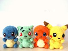 Characters from the Pikachu drawing in amigurumi. Source: Etsy Amigurumi Characters i Pokemon Crochet Pattern, Pikachu Crochet, Kawaii Crochet, Crochet Patterns Amigurumi, Cute Crochet, Crochet Crafts, Crochet Dolls, Crochet Yarn, Crochet Projects