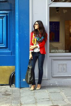 red | white | blue with a twist! get patriotic whether you're in paris, france or paris, tn with a bright red blazer, dark indigo skinny jeans, white flowy drapey tee | add a colorful floral print scarf and some metallic gold heels for flare! #paris #lemarais