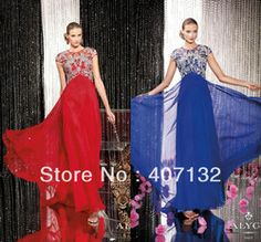 Online Shop Red Royal Blue Scoop with Short Sleeves Modest Women Luxurious Chiffon Prom Long New Arrival Formal Evening Dress 2014 Crystals |Aliexpress Mobile