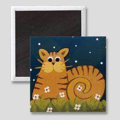 """ OUT AFTER DARK "" Whimsical Folk Art Cat Art Magnet.   Kitchen / Office Decor by Annie Lane Designs"