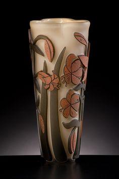 Lyla Nelson   Tiger Lily Art Glass Vase