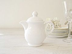 White Cream Pitcher Vintage Porcelain small pitcher by MeshuMaSH, $17.00