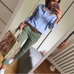 Apr 2020 - Girlfriend Twill Stripe Chinos at GAP. Button down olive pants s Tomboy Outfits button chinos Classy Gap Girlfriend Olive pants stripe Twill Tomboy Outfits, Tomboy Fashion, Mode Outfits, Classy Outfits, Chic Outfits, Fall Outfits, Fashion Outfits, Womens Fashion, Ladies Fashion
