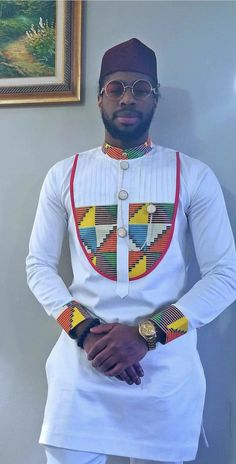 Look at this Classy African fashion styles Nigerian Men Fashion, Indian Men Fashion, African Print Fashion, Africa Fashion, Mens Fashion, African Shirts For Men, African Attire For Men, African Clothing For Men, African Wear
