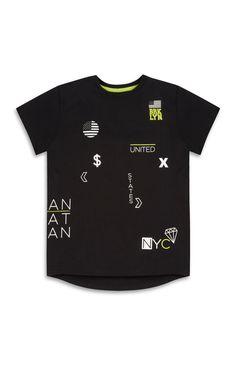8b170fdc7 Primark - Younger Boy Black Print T-Shirt Boys T Shirts, Black Print,