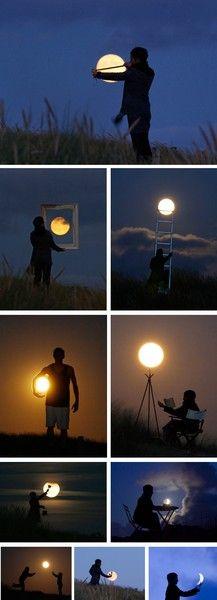 """O fotógrafo francês Laurent Lavender criou uma série de fotos chamadas """"Moon Game"""" em que ele utiliza toda a sua criatividade para compor essas imagens super bacanas onde ele e outras pessoas são fotografadas brincando com a lua.A coleção está sendo vendida na frança em forma de calendário e de um livro.Veja algumas dessas imagens geniais"""