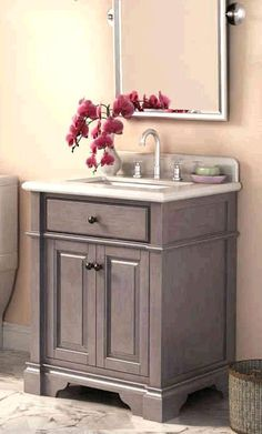 Update your bath interior with the Casanova Vanity from Lanza. The distressed antique grey finished cabinet has a transitional design. The double glazed rectangle sink adds a classic look. Furniture grade construction with soft close doors speak to the quality of this piece.