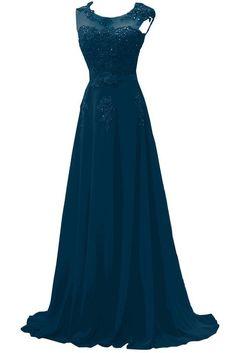 Gorgeous Bride Modisch Lang Rundkragen A-Linie Chiffon Tuell Spitze Schleppe Abendkleider Festkleider Ballkleider -38 Inkblau