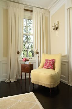Traditional Living Room Window Treatment - Sold per panel designer custom made linen drapes, inverted pleats with buttons, OFF WHITE Beige Curtains, Pleated Curtains, Paint Curtains, Ceiling Curtains, Valance, Drapery Panels, Drapery Holdbacks, Curtain Designs, Windows