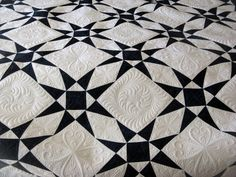 nothing simple looking about this black and white quilt. Beautiful quilting.