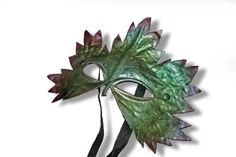 leaf mask in leather spring green flora by MaschereFabula on Etsy