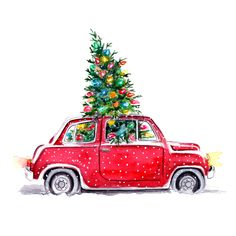 Christmas illustration by Tracy Hetzel (via Long Blue Straw). Christmas Car, Merry Christmas To You, Christmas Images, Vintage Christmas, Christmas Holidays, Christmas Crafts, Christmas Decorations, Christmas Sketch, Christmas Tree Drawing